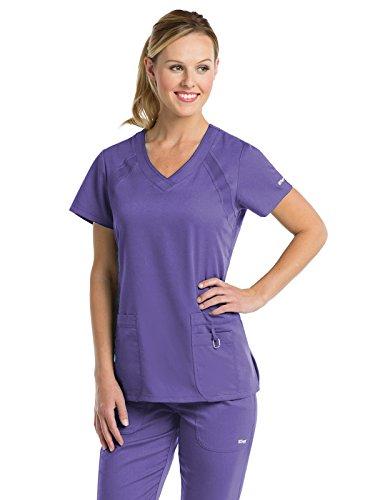 Grey's Anatomy Active Women's 41447 3 Pocket Knit Side Panel Scrub Top- Passion Purple- Medium