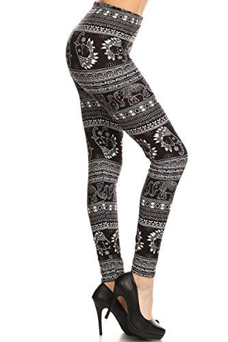R622-PLUS Indian Headdress Elephant Print Fashion Leggings