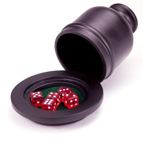 Deluxe Felt Lined Wooden Dice Cup Shaker with Felt Lined Tray - Includes 10 Bonus Dice!