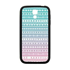 Aztec Colorful Pattern Bohemian Style Cat and Leaves Gradient Design Custom Cover Case For Samsung I9500 GALAXY S4(Black) with Best Plastic