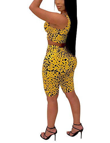 Sexy 2 Piece Outfits Summer Bodycon Tracksuit Leopard Dot Tank Top Shorts Yellow