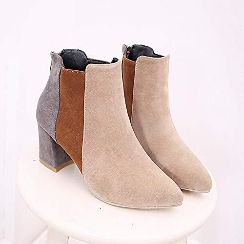 Tacon gris Zapatos negro Invierno Plataforma Altas Calzado Botines xy048 42  De 35 Cómodo beige Beige Cuña Botas Martin Mujer ... 92b473d85d23a