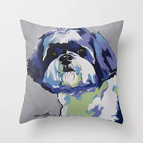 (Soft Cotton Square Throw Pillow Cover Cushion Case Cover with Hidden Zipper for Home & Kitchen, 18x18 Inch (45x45Cm) - Shih Tzu Pop Art Pet Portrait)