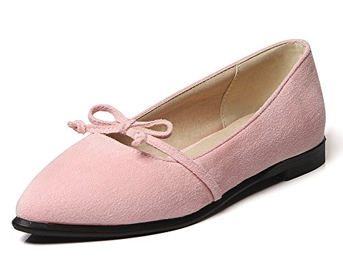Easemax Womens Gracieux Bowknot Bout Pointu Slip Sur Les Chaussures Chaussures Rose