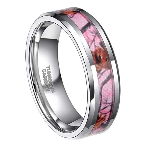Frank S.Burton 6mm 8mm Pink Camo Tungsten Rings Deer Antlers Hunting Camouflage Engagement Wedding Band Size 4-14 (6 MM, 8)