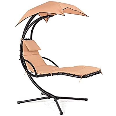 Giantex Hanging Chaise Lounger Chair Arc Stand Porch Swing Hammock Chair W/Canopy Large Weight Capacity