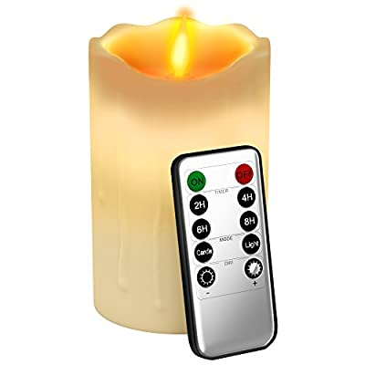 Gideon 5 Inch Flameless LED Candle - Dripping Style - Real Wax & Real Flickering Candle Motion - with Remote (On/Off, Timer, Dimmer) - Vanilla Scented, Ivory