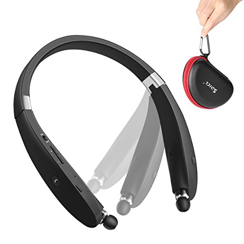 Bluetooth Headset, SDICL Wireless Stereo Headphones Neckband with Foldable and Retractable Earbuds (991 BLACK)