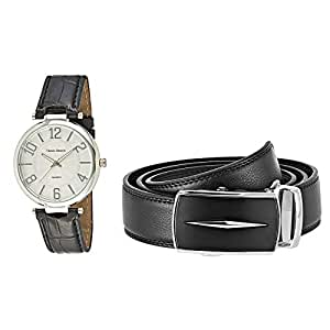 Trend Design Leather Watch Set for Men - 8604-4