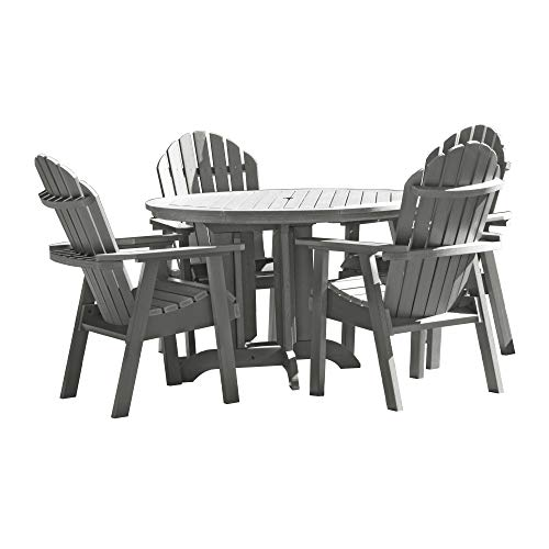 Highwood 5 Piece Hamilton Round Dining Set, Coastal Teak