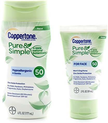 Coppertone Pure & Simple Sunscreen SPF 50 (6 fl oz) bundle w/Coppertone Pure & Simple SPF 50 for the face (2 fl oz)