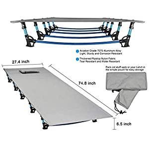 MARCHWAY Ultralight Folding Tent Camping Cot Bed, Portable Compact for Outdoor Travel, Base Camp, Hiking, Mountaineering…