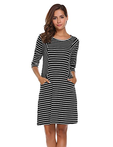 3 4 sleeve black and white striped dress - 4