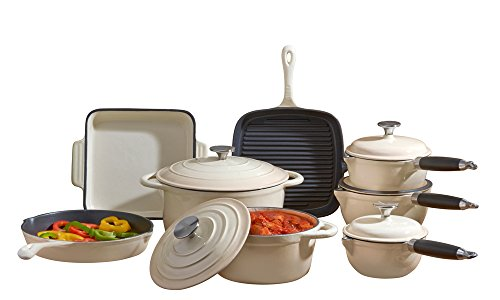Cooks Professional Deluxe Cast Iron Heavy Gauge Cookware Complete 8 Piece Cooking Set (Cream)