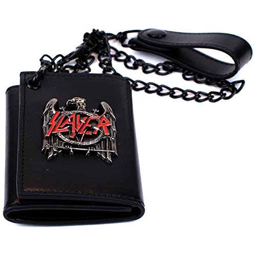 (H3 Sportgear Slayer Black Eagle Metal Badge Trifold Chain Wallet)