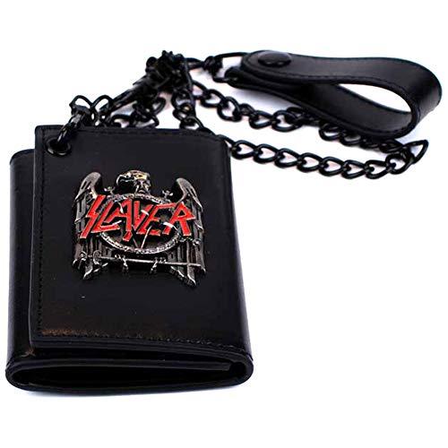 H3 Sportgear Slayer Black Eagle Metal Badge Trifold Chain Wallet