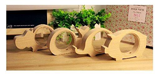 LingStar Home Decor Transparent Crude Wood Mini Animanl Piggy Bank Christmas New Year Birthday Gift Chilrean Saving Pot Pig