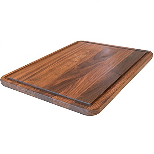 Extra Large Walnut Wood Cutting Board by Virginia Boys Kitchens - 18x24 American Hardwood Chopping and Carving Countertop Block with Juice Drip (Extra Large Marble)