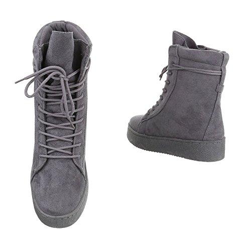 Zapatos para mujer Botas Plano Botines de cordones Ital-Design gris