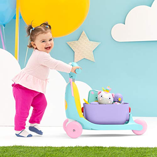 41FbIU6izLL - Skip Hop Kids 3-in-1 Ride On Scooter and Wagon Toy, Unicorn