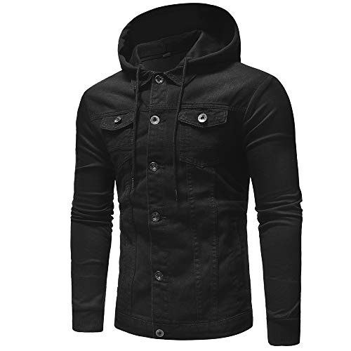 Mezclilla Jacket Hombre Chaqueta Jeans Negro Capucha de otoño para QinMM con Invierno Abrigo q1vpwC