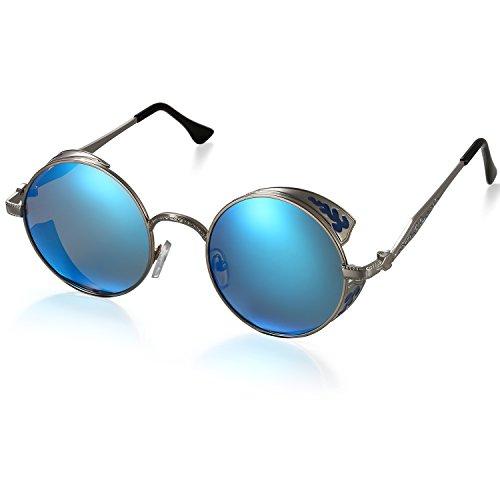 Sole Uomo SoleBluGrigio nbsp;occhiali Donna Protezione Polarizzati Cent Retro Cerchiata Specchio Rotondo Aron Uv400 Da Blau Occhiali rdeQxoWCEB