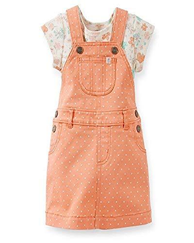 Carter's Baby Girls' 2 Piece Denim Peach Overall Dress Set (12 Months)