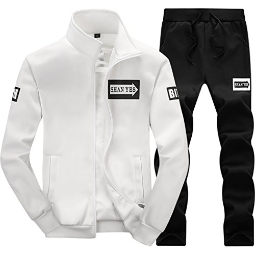 M-LORD (TM) Mens Long Sleeve Sweatsuit Jogger Baseball Jacket & Pants B/W -