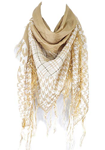 - Houndstooth with cheetah and check print square fringe 100% silk scarf (Tan)