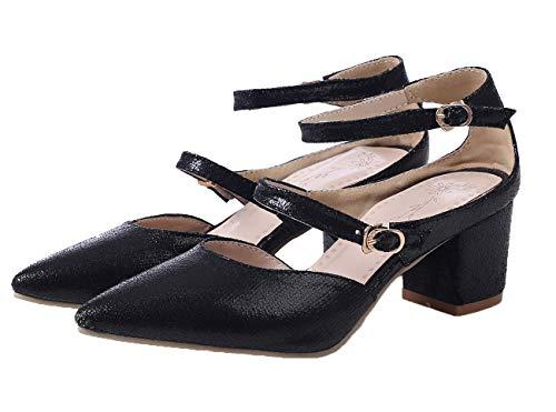 Chiusa Medio AgooLar Tacco GMMLA008061 Puro Sandali Nero Fibbia Donna Punta waaYqExv