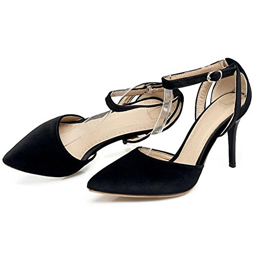 COOLCEPT Damen Mode Heels Pumps Schuhe Straps Black