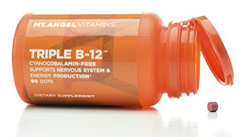 Triple B-12 Dots Nervous System Support B12 is essential for DNA synthesis, metabolizing fat, healthy formation of red blood cells - 90 Dots by Mt. Angel Vitamins