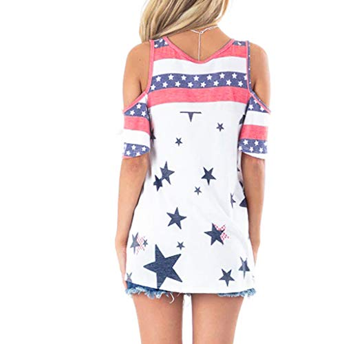 (Women's American V Neck Side Striped Oblique Collar Strap Tops Blouse Casual Flag Print Kimono Cover Up Tops Shirt )