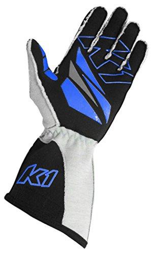 K1 Race Gear GT-1 SFI Auto Racing Gloves (Black/Blue/Grey, X-Large) ()