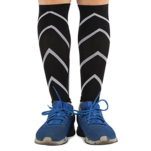 Calf Compression Sleeve Support- Leg Compression Socks for Shin Splint, & Calf Pain Relief - Men, Women, and Runners - Calf Guard for Running, Cycling (M/L, Black)