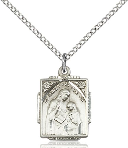 Sterling Silver St. Anne Pendant / 18 inch Sterling Silver Curb Chain / ST. (Sterling Vase)
