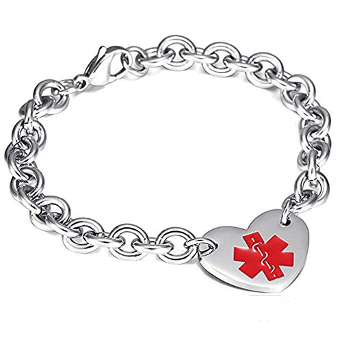 LF 316L Stainless Steel Free Engraved Medical Alert Heart Charm Link Bracelet Rolo Chain Medic ID Bracelets Monitoring Awareness for Womens for Outdoor Emergency,Customized Personalized
