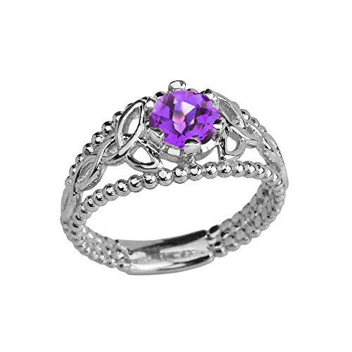 Amethyst Engagement Genuine Ring - Sterling Silver Modern Beaded Celtic Trinity Knot Engagement Ring with Genuine Amethyst (Size 8)