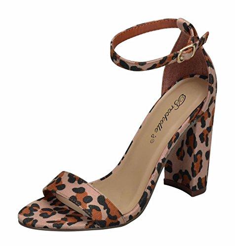 Breckelles Devie-02 Donna Open Toe Cinturino Alla Caviglia Sandalo Con Tacco Grosso Leopardato