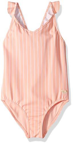 Roxy Big Girls' Field of Love One Piece Swimsuit, Peach Bud Sample Pool Stripes, 14 ()