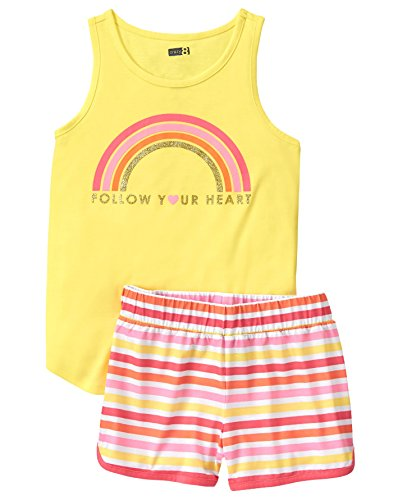 Crazy 8 Girls' Little 2-Piece Pajama Set (Short Sleeve), Rainbow, XS ()