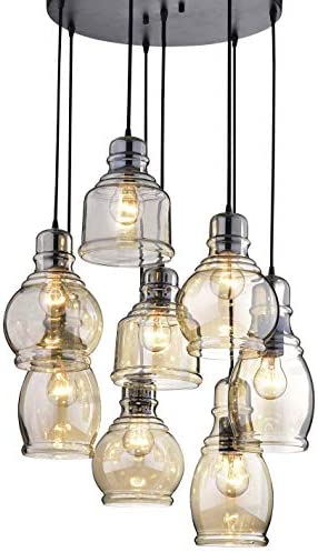 Circular Light Fixture for Dining Rooms and Kitchen Areas Glass Chandelier Centerpiece Provides Ample Lighting Round Indoor Hanging Lamp Set Descends from Ceiling to Create Modern Farmhouse Feel