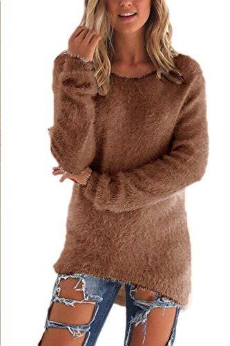 Suéter De Cuello Redondo Mujeres Invierno Sólidos Sueltos Tunic Top Coffee