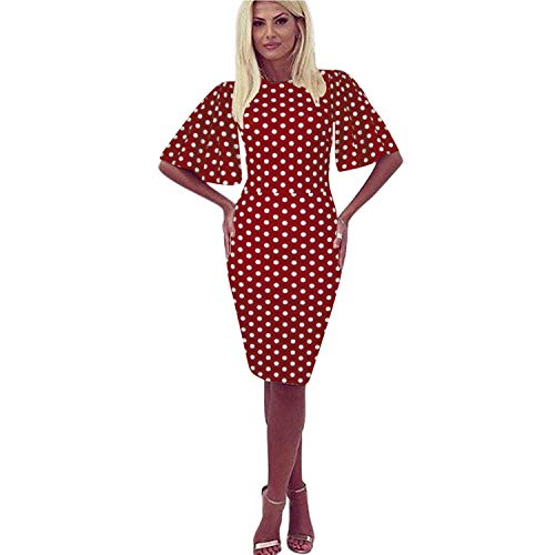 - Zshujun Women's Casual Polka Dot Short Sleeve Round Neck Work Business Pencil Dress 1189 (Red dot, XL)