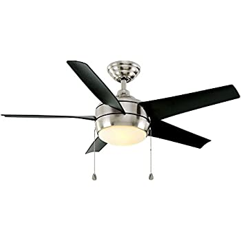 Home decorators collection windward 44 in indoor brushed nickel ceiling fan