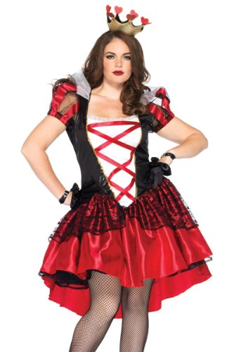 Leg Avenue Women's Plus-Size 2 Piece Royal Red Queen Costume, Black/Red, XXX-Large/XXXX-Large (Halloween Queen)