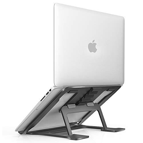 Aluminum Laptop Stand Adjustable, Compatible with Apple Mac MacBook Pro Air 10 to 15.6 Inch Notebook, Ventilated Portable Ergonomic Desktop Holder Riser for Office Desk, Metal Black Soundance - Aluminum Desktop Portable