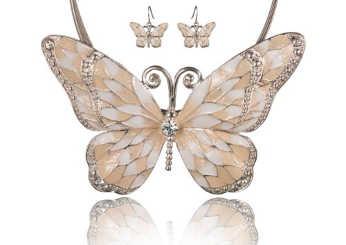 Butterfly Necklace Earrings Set - Jewelry Nexus White Beige Butterfly Pendant Cord Necklace Set with Enamel Inlay & Matching Earrings