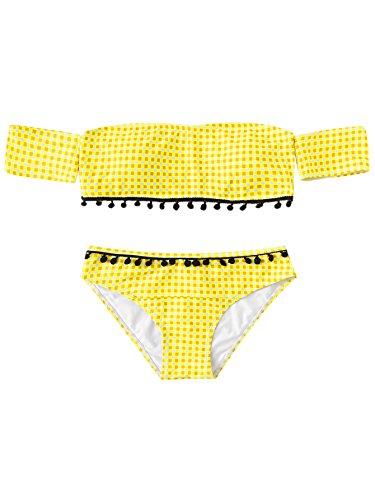 Plaid Bikini Halter (SweatyRocks Women's Sexy Bikini Set Plaid Print Off Shoulder Bandeau Two Piece Swimsuit Yellow S)
