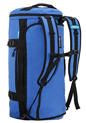 MIER Large Duffel Backpack Sports Gym Bag with Shoe Compartment, Heavy Duty and Water Resistant, Blue, 45L